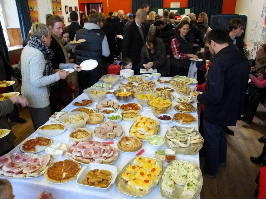 People enjoying buffet