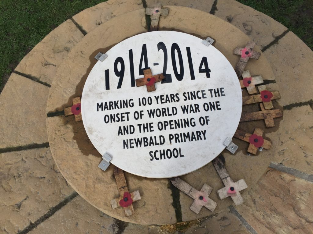 Plaque And Top Layer Of Centenary Bench In North Newbald