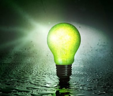 Green light bulb representing green energy project