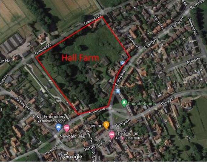 Map of Hall Farm showing its location